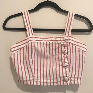 White and Pink Striped Button Front Crop Top